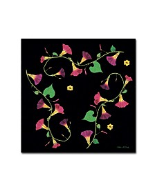 """Kathie McCurdy 'Pressed Flowers Morning Glories' Canvas Art - 18"""" x 18"""""""