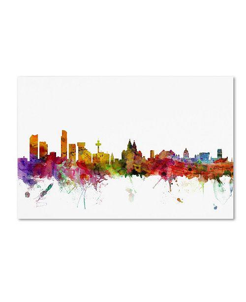 "Trademark Global Michael Tompsett 'Liverpool England Skyline' Canvas Art - 19"" x 12"""