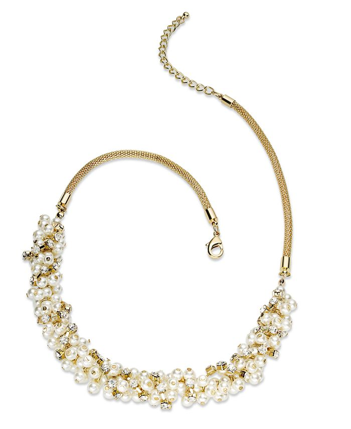 Charter Club - Gold-Tone Glass Pearl Cluster Necklace