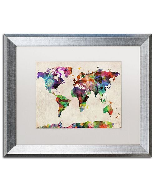 "Trademark Global Michael Tompsett 'Urban Watercolor World Map' Matted Framed Art - 16"" x 20"""