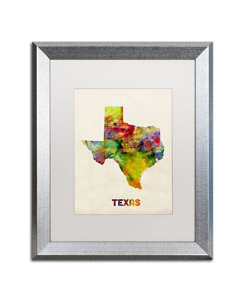 "Trademark Global Michael Tompsett 'Texas Map' Matted Framed Art - 16"" x 20"""