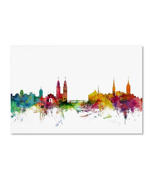 """Trademark Global Michael Tompsett 'Zurich Switzerland Skyline II' Canvas Art - 16"""" x 24"""""""