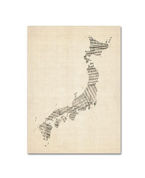 "Trademark Global Michael Tompsett 'Old Sheet Music Map of Japan' Canvas Art - 18"" x 24"""