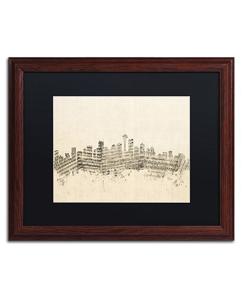 "Trademark Global Michael Tompsett 'Seattle Skyline Sheet Music' Matted Framed Art - 16"" x 20"""