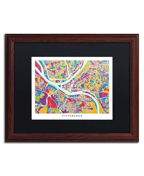 "Trademark Global Michael Tompsett 'Pittsburgh Street Map' Matted Framed Art - 16"" x 20"""