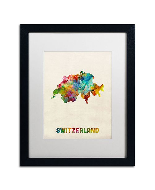 "Trademark Global Michael Tompsett 'Switzerland Watercolor Map' Matted Framed Art - 16"" x 20"""