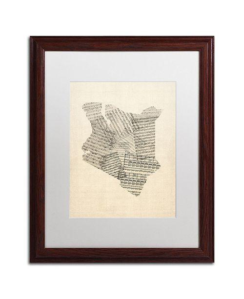 """Trademark Global Michael Tompsett 'Old Sheet Music Map of Kenya' Matted Framed Art - 16"""" x 20"""""""