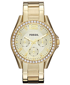 Fossil Women's Riley Gold-Tone Stainless Steel Bracelet Watch 38mm ES3203