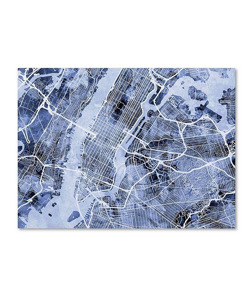 "Trademark Global Michael Tompsett 'New York City Street Map B&W' Canvas Art - 35"" x 47"""