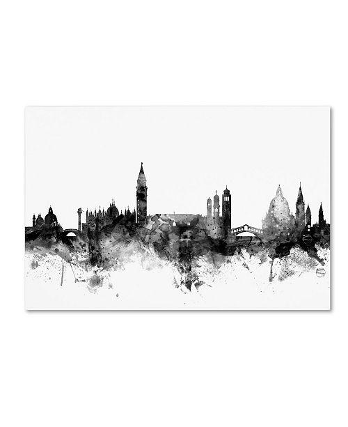 "Trademark Global Michael Tompsett 'Venice Italy Skyline B&W' Canvas Art - 22"" x 32"""