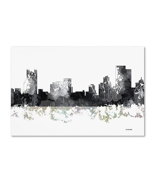 "Trademark Global Marlene Watson 'Pittsburgh Pennsylvania Skyline BG-1' Canvas Art - 30"" x 47"""