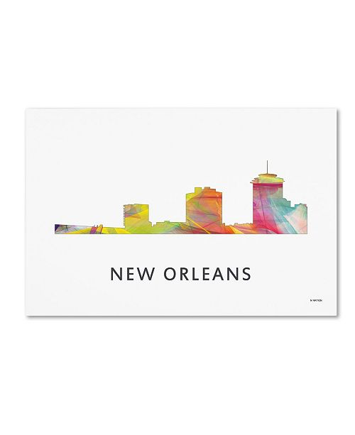 "Trademark Global Marlene Watson 'New Orleans Louisiana Skyline WB-1' Canvas Art - 22"" x 32"""