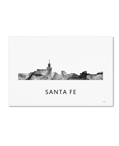 "Trademark Global Marlene Watson 'Santa Fe New Mexico Skyline WB-BW' Canvas Art - 30"" x 47"""