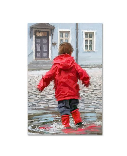"Trademark Global The Macneil Studio 'Boy in Puddle' Canvas Art - 30"" x 47"""