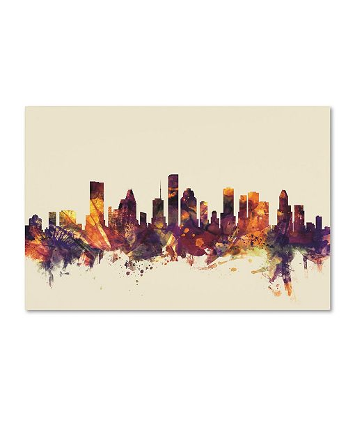 "Trademark Global Michael Tompsett 'Houston Texas Skyline' Canvas Art - 22"" x 32"""