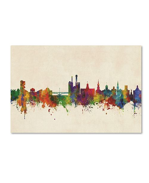 "Trademark Global Michael Tompsett 'Iowa City Iowa Skyline' Canvas Art - 22"" x 32"""