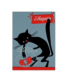 """Vintage Apple Collection 'Black Cat And Fish Bowl' Canvas Art - 24"""" x 32"""""""