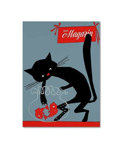 """Trademark Global Vintage Apple Collection 'Black Cat And Fish Bowl' Canvas Art - 24"""" x 32"""""""