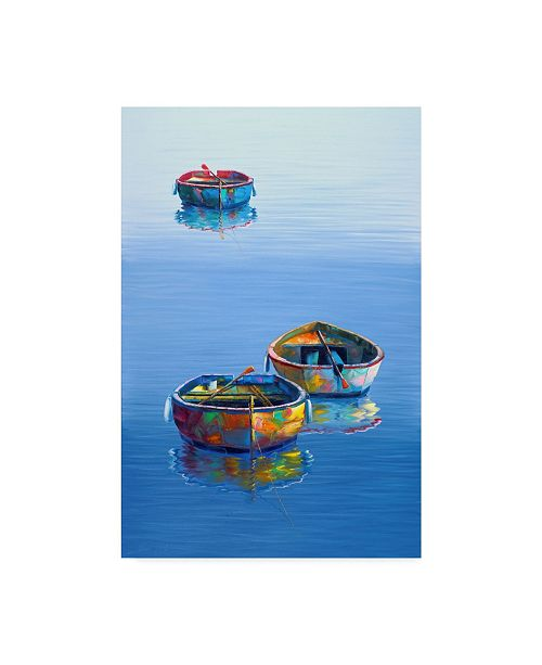 "Trademark Global Edward Park 'Boats Blue Vertical' Canvas Art - 30"" x 47"""
