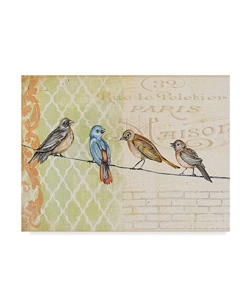 """Trademark Global Jean Plout 'Four Birds On Wire' Canvas Art - 24"""" x 32"""""""
