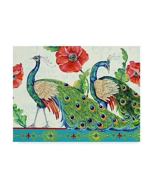 "Trademark Global Jean Plout 'Peacocks And Roses' Canvas Art - 35"" x 47"""