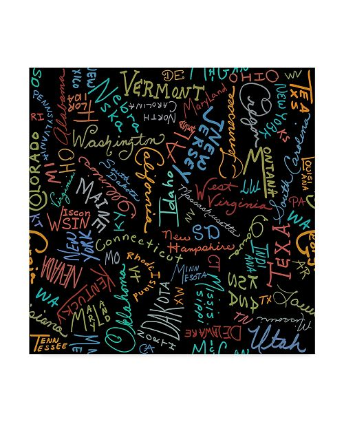 """Trademark Global Jean Plout 'State Typography Black' Canvas Art - 24"""" x 24"""""""