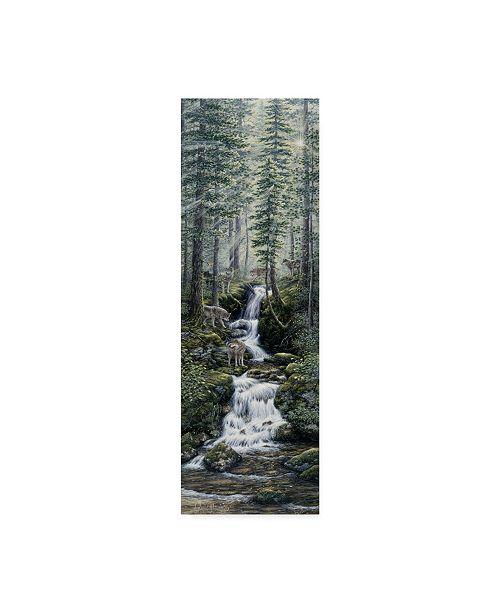 """Trademark Global Jeff Tift 'Cascade Wolves' Canvas Art - 8"""" x 24"""""""