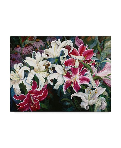 """Trademark Global Joanne Porter 'Field Of White And Pink Lilies' Canvas Art - 24"""" x 32"""""""