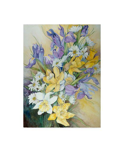 "Trademark Global Joanne Porter 'Iris Daisies And Daffodils' Canvas Art - 24"" x 32"""