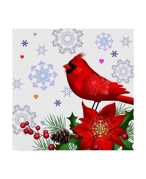 "Trademark Global Maria Rytova 'Cheerful Composition with Pretty Cardinal' Canvas Art - 35"" x 35"""