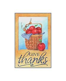 """Melinda Hipsher 'Give Thanks Apple Basket' Canvas Art - 22"""" x 32"""""""