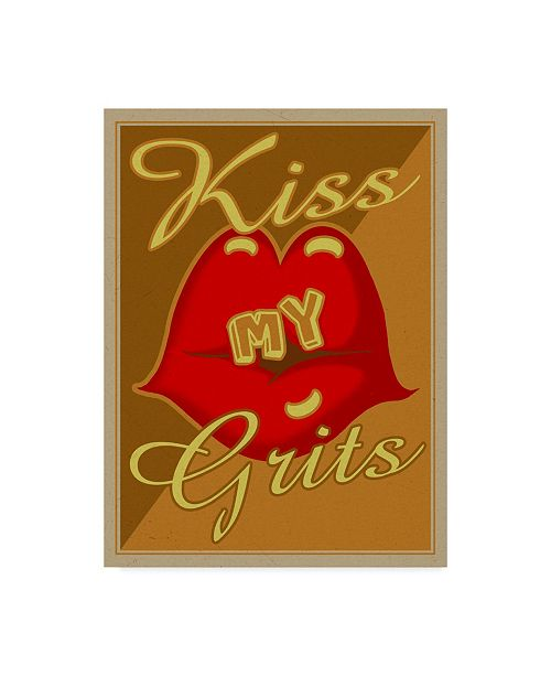 """Trademark Global Old Red Truck 'KISS MY GRITS' Canvas Art - 35"""" x 47"""""""