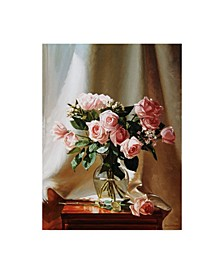 """Robin Anderson 'Pink Roses' Canvas Art - 35"""" x 47"""""""