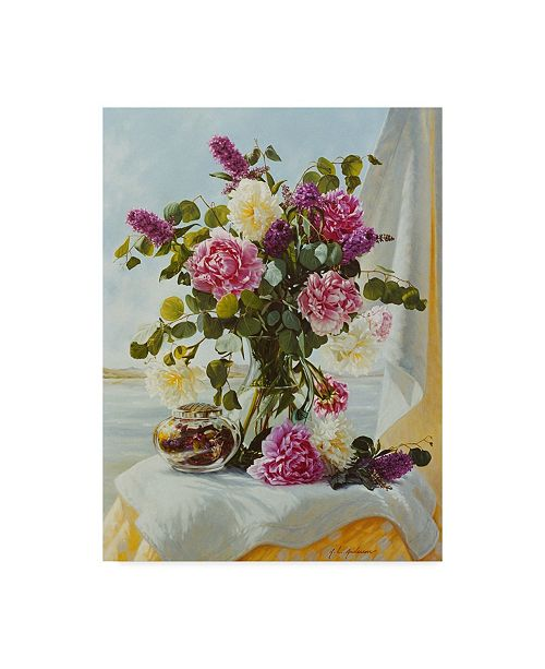 """Trademark Global Robin Anderson 'Peonies By The Lake' Canvas Art - 24"""" x 32"""""""