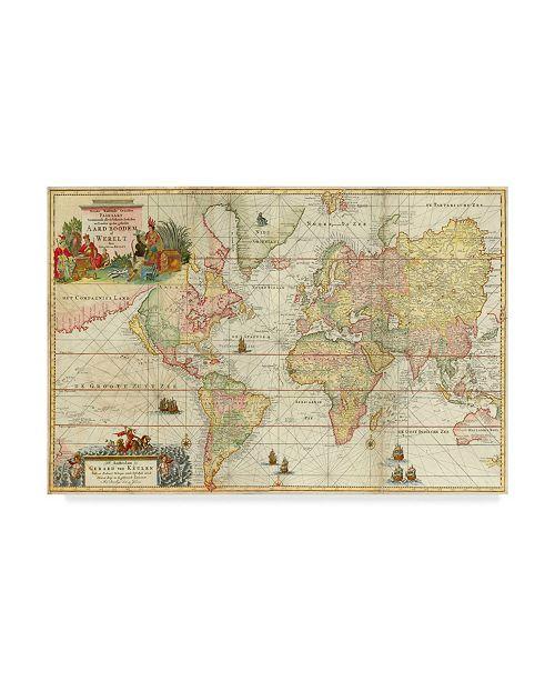 "Trademark Global Vintage Lavoie 'World Map' Canvas Art - 22"" x 32"""