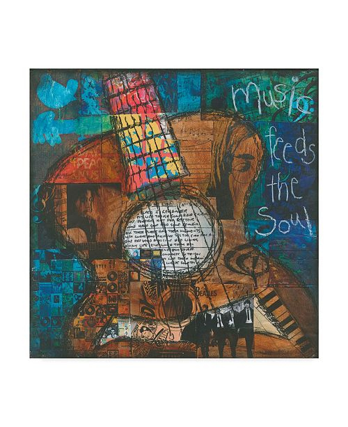 "Trademark Global Jennifer Mccully 'Music Feeds The Soul - Guitar' Canvas Art - 35"" x 35"""