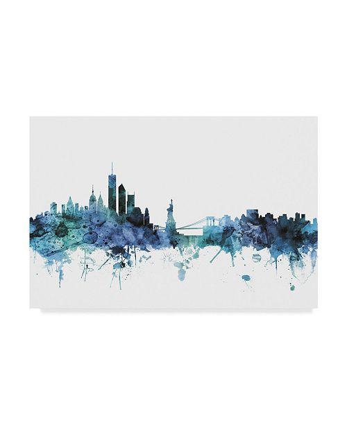 "Trademark Global Michael Tompsett 'New York Blue Teal Skyline' Canvas Art - 47"" x 30"""