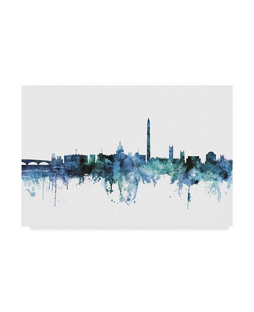 "Trademark Global Michael Tompsett 'Washington DC Blue Teal Skyline' Canvas Art - 47"" x 30"""