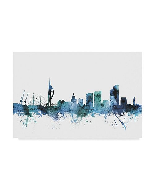 "Trademark Global Michael Tompsett 'Portsmouth England Blue Teal Skyline' Canvas Art - 47"" x 30"""