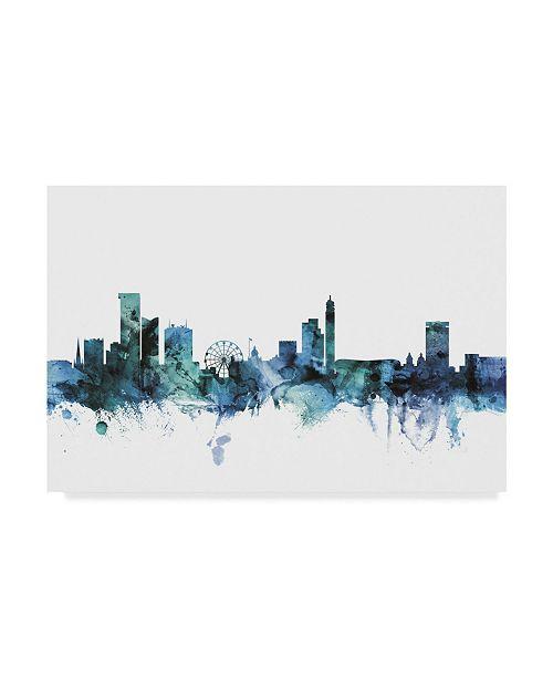 "Trademark Global Michael Tompsett 'Birmingham England Blue Teal Skyline' Canvas Art - 24"" x 16"""