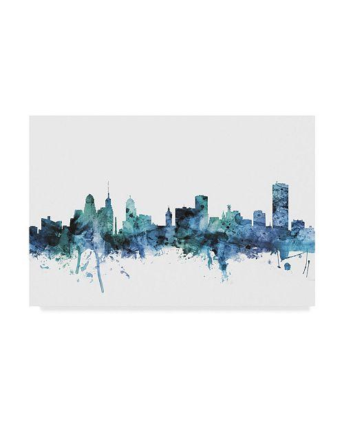 "Trademark Global Michael Tompsett 'Buffalo New York Blue Teal Skyline' Canvas Art - 24"" x 16"""