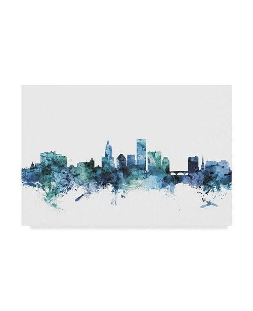 "Trademark Global Michael Tompsett 'Providence Blue Teal Skyline' Canvas Art - 32"" x 22"""