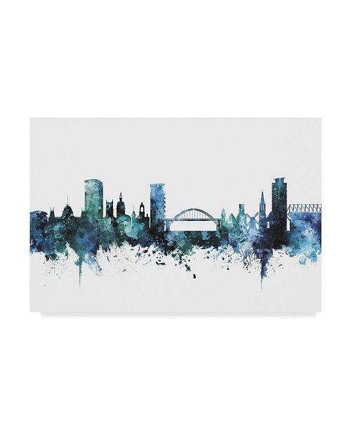 "Trademark Global Michael Tompsett 'Sunderland England Blue Teal Skyline' Canvas Art - 32"" x 22"""