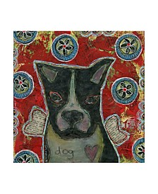 """Funked Up Art 'Boston Terrier Red' Canvas Art - 35"""" x 35"""""""