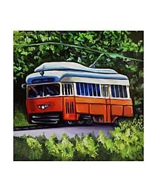 """Howie Green 'Orange Trolley' Canvas Art - 35"""" x 35"""""""