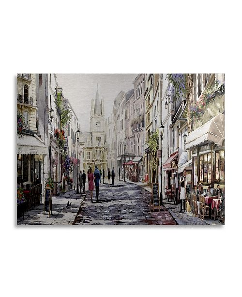 "Trademark Global The Macneil Studio 'Sunlit Street' Floating Brushed Aluminum Art - 22"" x 16"""