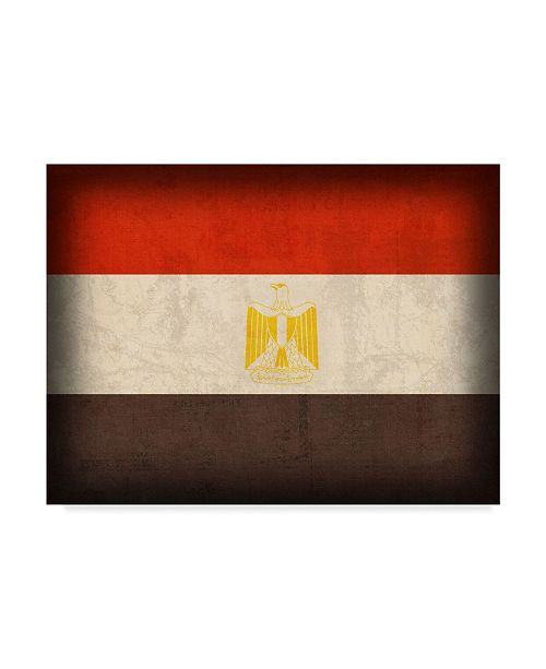 "Trademark Global Red Atlas Designs 'Egypt Distressed Flag' Canvas Art - 32"" x 24"""