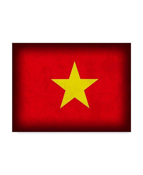 "Trademark Global Red Atlas Designs 'Vietnam Distressed Flag' Canvas Art - 32"" x 24"""