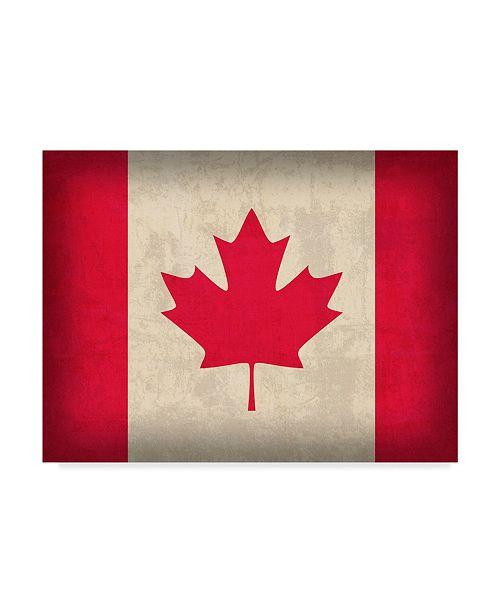 "Trademark Global Red Atlas Designs 'Canada Distressed Flag' Canvas Art - 24"" x 18"""