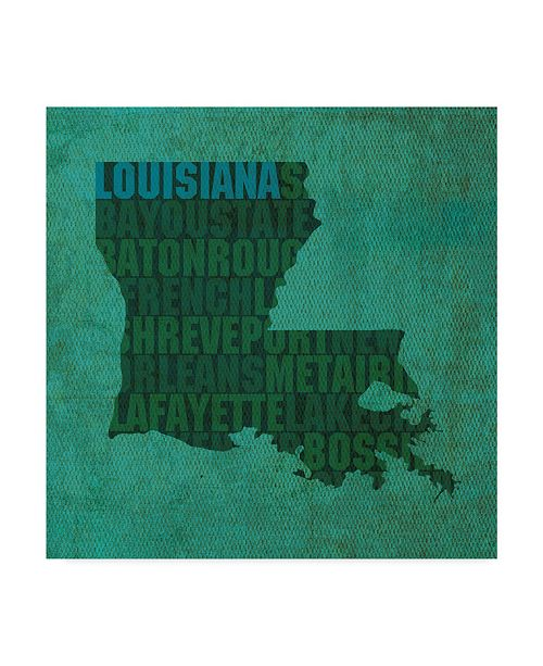 "Trademark Global Red Atlas Designs 'Louisiana State Words' Canvas Art - 24"" x 24"""